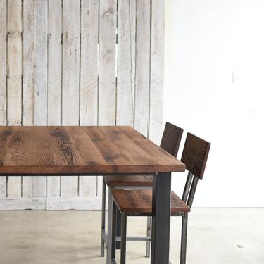 Square Pub Table / Reclaimed Wood and Steel Pub Table / Metal Post Leg by wwmake