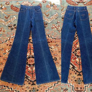 70s Chemin De Fer high waisted denim bell bottoms jeans 24  / vintage 1970s dark denim elephant bells flares pants sz XS by ritualvintage