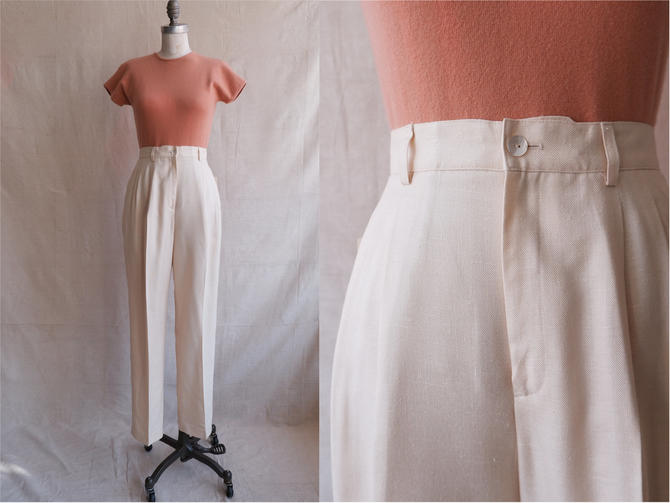 Vintage 80s Butter Trousers/ 1980s High Waisted Light Yellow Woven Pants/ Linen Feel/ Size 27 by bottleofbread