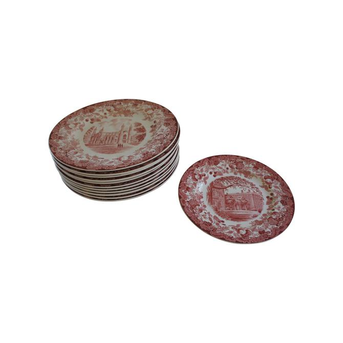 Wedgwood Harvard University Scenes Floral Pink Plates - Set of 12 by MetronomeVintage
