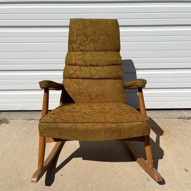 Mid Century Modern Rocking Chair Wood Fabric Retro Rocker Armchair Antique Nursery Room Furniture Seating Upholstered Mod Boho Chic by DejaVuDecors
