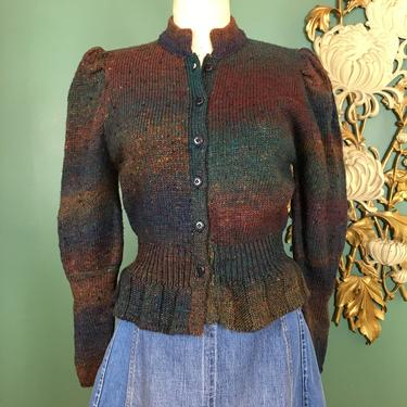 1970s sweater, vintage cardigan, peplum sweater, ombre brown and teal, j Jordan, 1940s style sweater, puff shoulders, 1970s cardigan, 36 38 by BlackLabelVintageWA