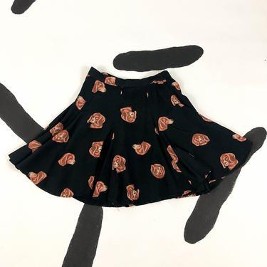 90s Dog Head Allover Print Mini Skirt / Beagle / Circle Skirt / Skater Skirt / Novelty Print / Animal Print / 26 Waist / Fluttery / Weird by badatpettingcats