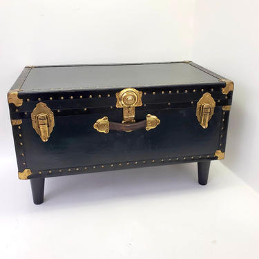 Emerald Forest Green Antique Steamer Trunk Coffee Table Brass & Gold Hinges Latches Removable Shelf Storage Foot Locker Bedroom Book Cabinet by MakingMidCenturyMod