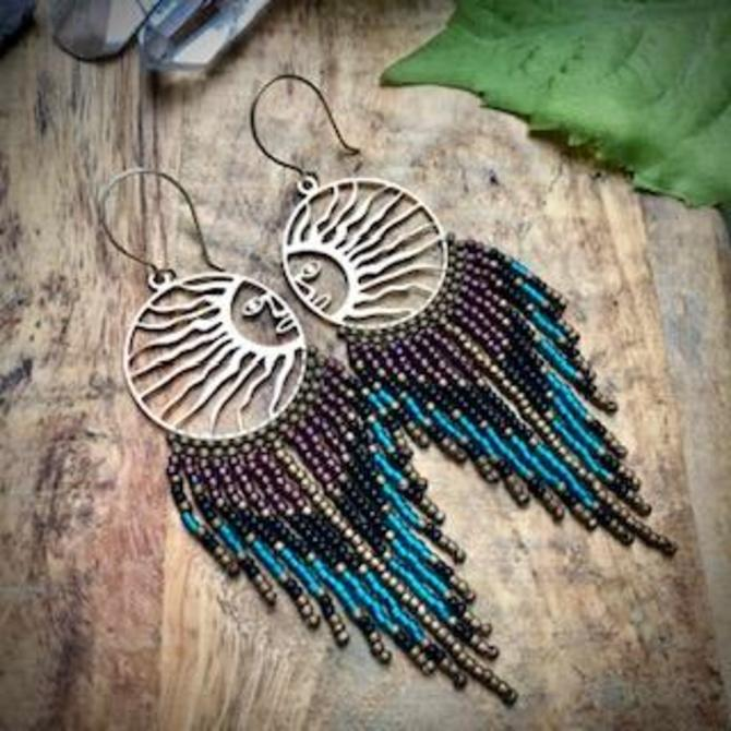 Sun and Beaded Fringe Earrings