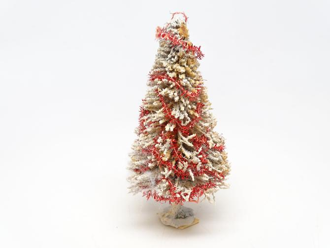 Small Antique Flocked Christmas Tree with Red Tinsel Garland, Vintage Decor Snow Flocked , Retro Doll House by exploremag