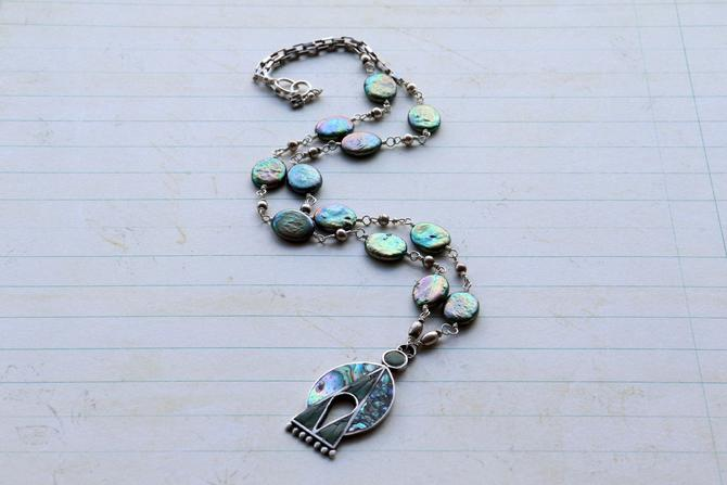 Better Angels [assemblage necklace: vintage pendant, pearl, sterling silver] by nonasuch
