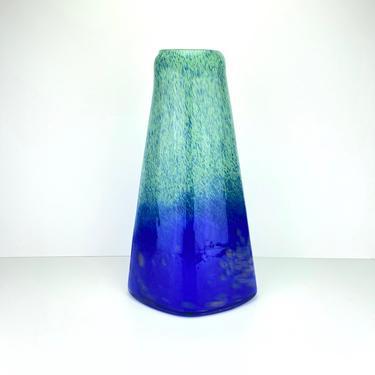 "Vintage Norcrest Japan Large Art Glass Vase Blue Green Mid Century Modern 14"" by HouseofVintageOnline"