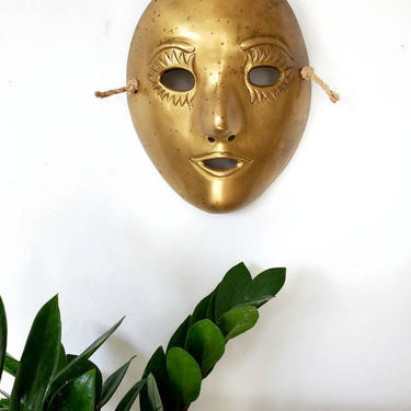 Vintage Solid Brass Hanging Mask Wall Decor by pennyportland
