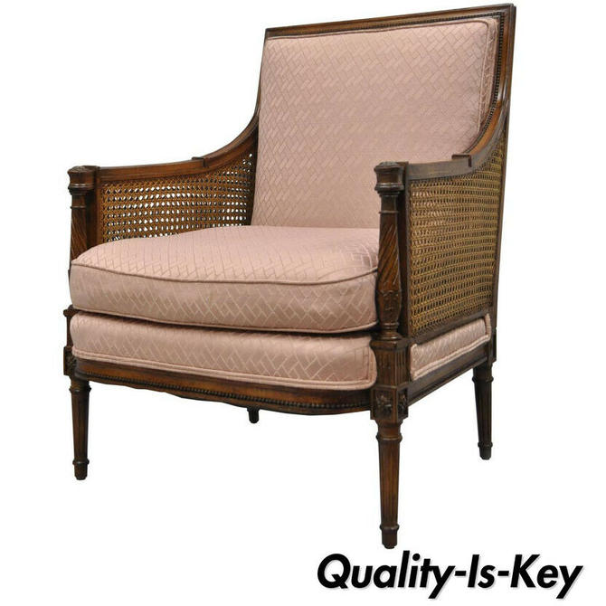 French Louis XVI Directoire Style Cane Bergere Arm Chair Carved Walnut Frame