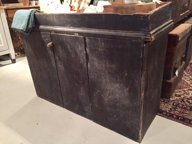 """Early (1600's?) dry sink, 45.5"""" l x 18"""" d x 32"""" t, $450."""