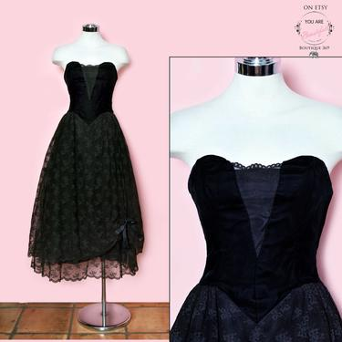 vtg Black Velvet & Lace Evening Party Dress, Strapless, Full Skirt, Climax Cocktail Party Formal Corset Gown, 1970's, 1980's Vintage Dress by Boutique369