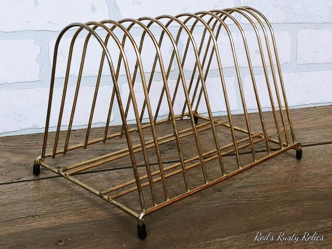 Mid Century Brass Wire Record Holder by RedsRustyRelics