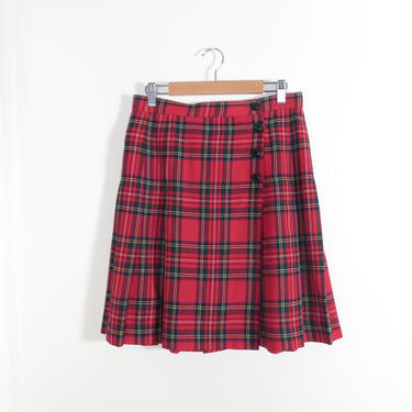 Vintage 90s Plaid Wool Lord And Taylor Pleated High Waist Wrap Skirt Size M by VelvetCastleVintage