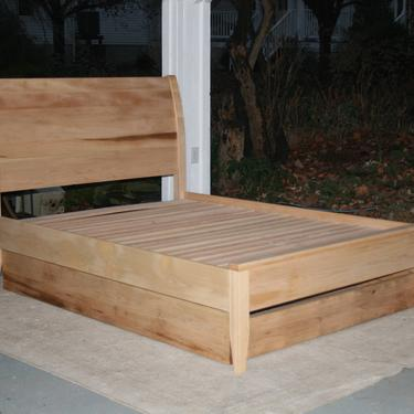 NtRnS2 Solid Hardwood Platform Sleigh Bed with Trundle, natural color by SolidCherryHeirlooms