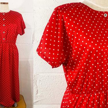 Vintage Red Dress Polka Dot White Print Short Sleeve 80s 90s Knee Length Sundress 1990s 1980s Blair 80s XXL XL 1X 2X 2XL 1XL by CheckEngineVintage