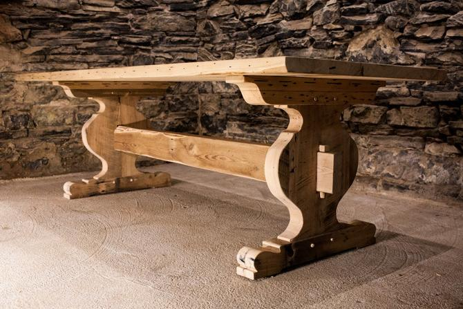 The Alpine - Bavarian Style Reclaimed Oak Trestle Table by BarnWoodFurniture