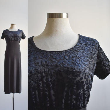 90s Black Velour Midi Dress by milkandice