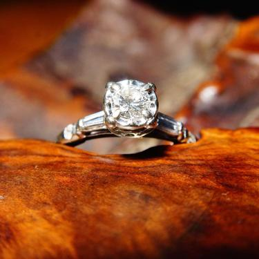 Vintage 14K White Gold Tapered Baguette Diamond Engagement Ring, .5 CT Brilliant Diamond, Cathedral Shank W/ Accent Diamonds, Size 8 1/4 US by shopGoodsVintage