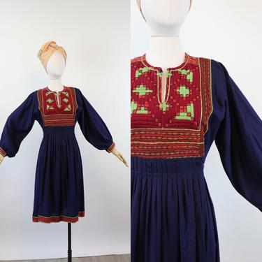 1970s INDIAN COTTON caftan dress small   new fall by CrushVintage