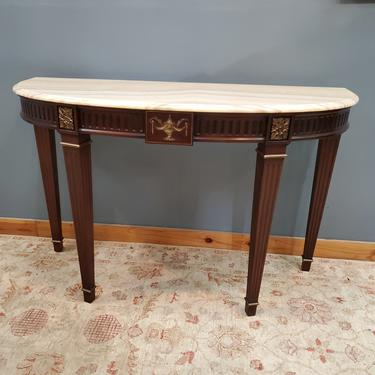 Demilune Console Table with Striped Marble Top