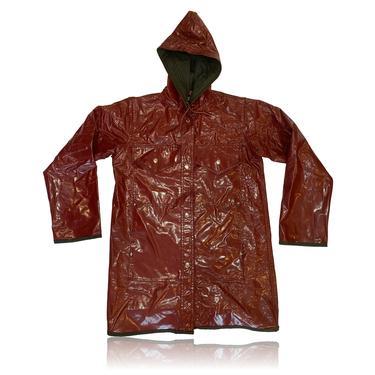 90s Shiny Maroon Rain Jacket // Waterproof // Lot One // Size Large by RadThingsVintage