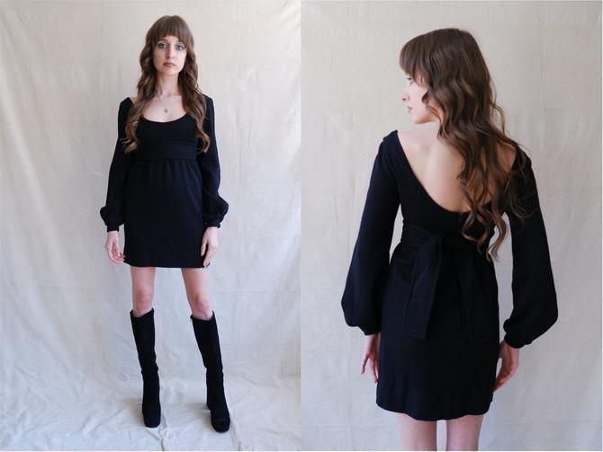 Vintage 60s Alvin Duskin Black Scoop Neck Mini Dress/ 1960s Balloon Sleeve Wool Short Dress/ Size XS by bottleofbread