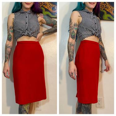 Vintage 1960's Red Wool Pencil Skirt by SurrealistVintage