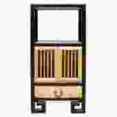 Oriental Black Rim Natural Wood Narrow Storage Display Bookcase Cabinet cs5168S