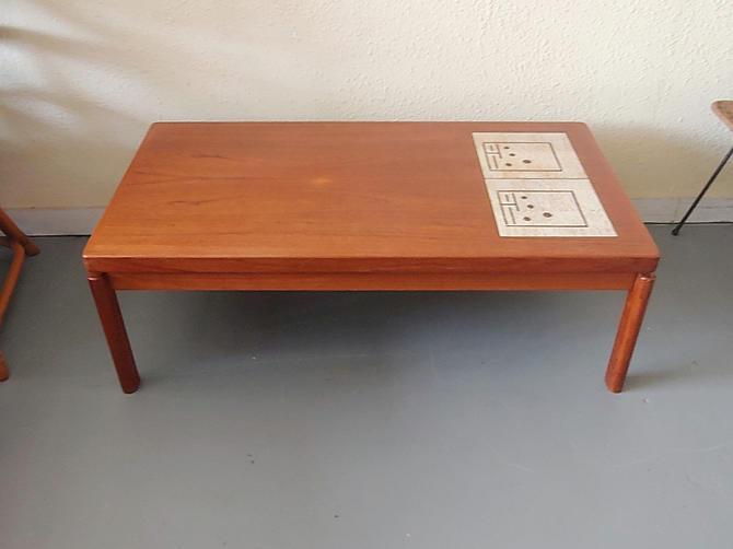 Vintage Danish Modern Teak Coffee Table w Inset Tile by ModandOzzie