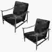 Custom Walnut Mid-Century Style Armchairs in Black Sheepskin