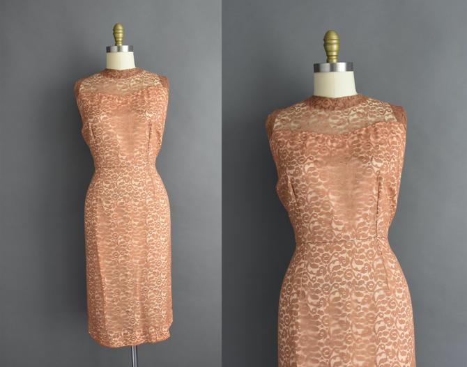 1950s vintage dress | Latte Brown Floral Lace Cocktail Party Bridesmaid Wedding Dress | Large | 50s dress by simplicityisbliss