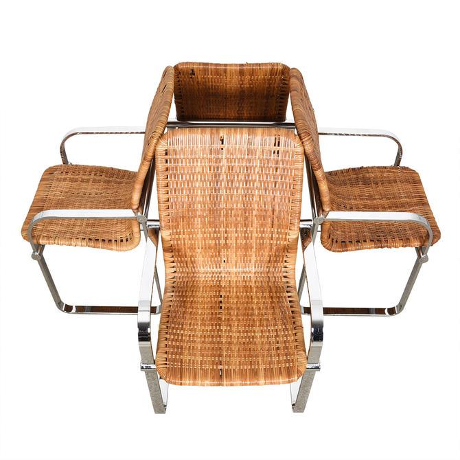 Set of 4 Milo Baughman Style Chrome & Rattan Chairs