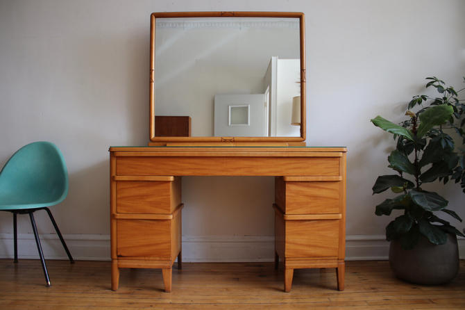 Mid Century Modern Art Deco Maple Vanity Desk by SharkGravy