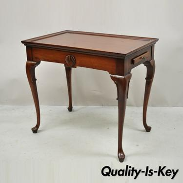 Vintage Mahogany Queen Anne Shell Carved Side Tea Table with Pull Out Sides