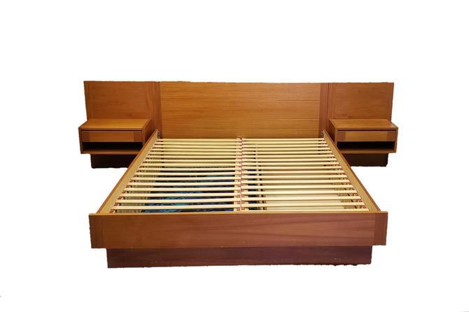 Danish Modern Teak Queen Bed with Floating Nightstands
