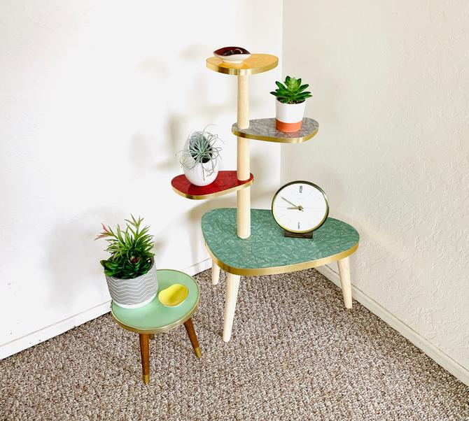 Tiered Plant Table, Formica Side Table, Mid Century Indoor Planter, German Vintage Table, Side Table End Table, Atomic Table, Space Age by dadacat