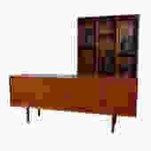 Danish Teak Tambour Door Room Divider \/ Sideboard + Separate Display Top