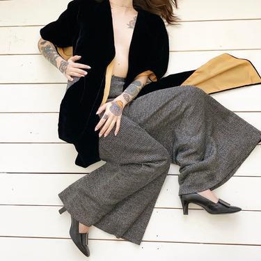1970s Black & Silver Wide Leg Trousers by milkandice