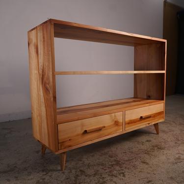 """Halfstack Bookcase - Double Wide, ALT DESIGN #1, 44""""W x 34""""H, Mid Century Bookshelf, Modern Bookshelf, Modern Furniture (Shown in Madrone) by TomfooleryWood"""