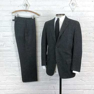 Size 38 Reg 30x28 Vintage 1950s 1960s Men's Trad Ivy 3 Roll 2 Gray Wool 2pc Sack Suit with Hooked Vent and Buckle Back Pants by BriarVintage