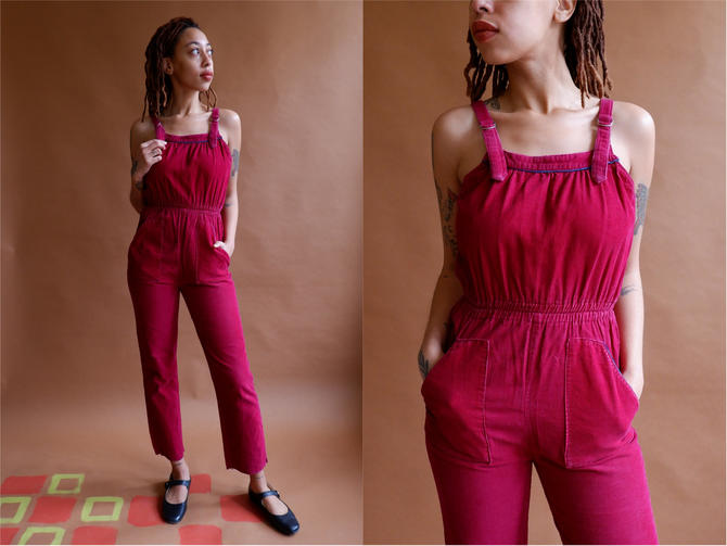 Vintage 70s Corduroy Jumpsuit/ 1970s Maroon Sleeveless Overall Romper/ Size XS by bottleofbread