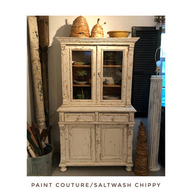 Chippy White Antique Pine Hutch - Cabinet by RustandRefind