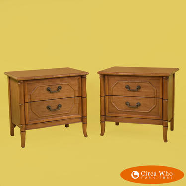 Pair of Faux Bamboo Nightstands