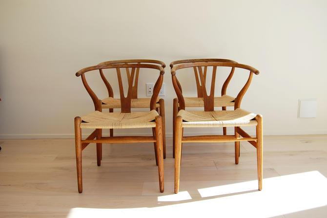 Danish Modern Hans Wegner Wishbone Chair CH-24 for Carl Hansen and Son Made in Denmark - Set of 4 by MidCentury55