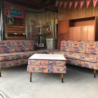 Mid Century Modern Kroehler Modular Sofa Seating Group With Ottoman Game Table. FREE Continental Us Shipping by ModernFlamingo