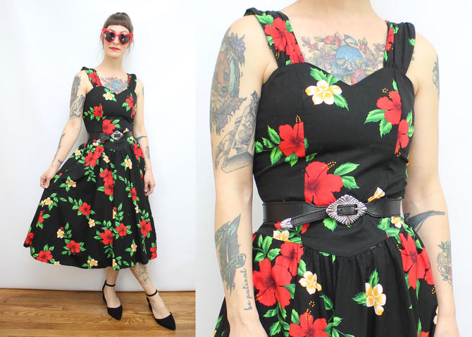 cba442a19a73 Vintage 80's Black and Red Tropical Floral Sun Dress / 1980&