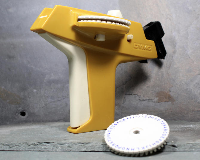 """Vintage Dymo Label Maker with Extra Character Flywheel - Marigold Office Tool - 3/8"""" Label Maker 