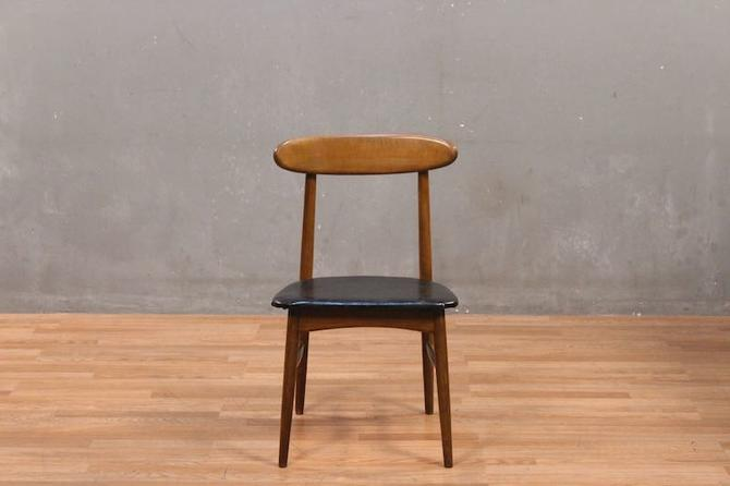 Danish Modern Walnut & Jet Leather Side Chair