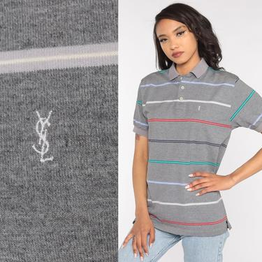 YSL Polo Shirt 80s Striped Shirt Saint Laurent Grey Button Up Shirt Retro Collared Shirt Red Blue 1980s  Vintage Short Sleeve Small Medium by ShopExile